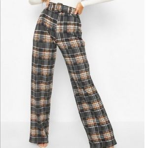 Checked Belted Wide Leg